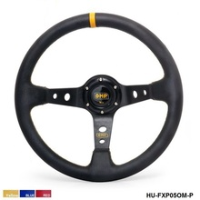 350MM PVC Drifting Sport Racing Steering Wheel + Horn Button Aluminum Frame (color:yellow red blue) HU-FXP05OM-P(China)