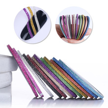 12 Rolls 2mm Matte Nail Striping Tape Line Multi Color Nail Art Styling Tool Glitter Sticker Decal Manicure Decoration(China)