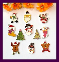 scrapbook Bulk decorative buttons mix 11 style 40pcs wood Christmas buttons for craft accessories product Sewing Botons Supplies(China)