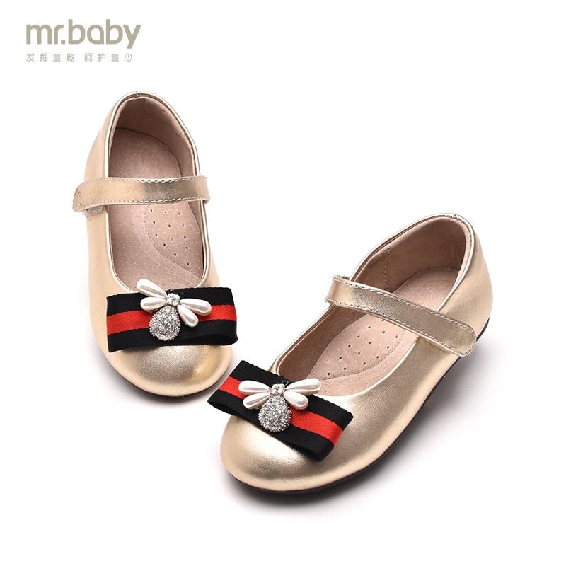mr.baby original childrens shoes 2018 spring hit color ribbon bee elegant princess shoes<br>