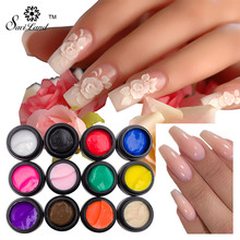Saviland 12 Colors DIY Glitter Sculpture Gel Nail 3D Carved Glue UV Gel Nail Art Modelling Painting Adornment Tools(China)