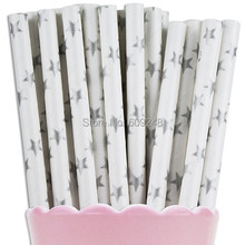100pcs Mixed Colors Silver Star Paper Straws, Buy Cheap Colorful Party Supplies Printed Paper Drinking Straws Bulk Wholesale(China)