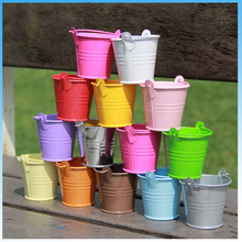 Hot sell 12pcs Mini Metal Bucket Candy Favours Box Pail Wedding Party Gifts