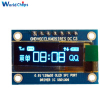 0.91 Inch 128x32 SPI Port Blue OLED LCD Display DIY Oled Module SSD1306 Driver IC DC 3.3V-5V For Arduino PIC