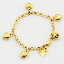 1pcs 3mm Litter Baby Kids Girls Gold Color Cute Heart Bracelets Rolo Chain Bangles Babies Jewelry