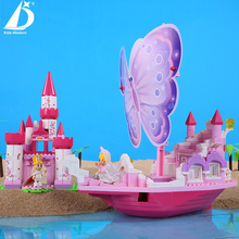 2017 Kids Wisdom girl Assemblage Princess and Prince Wedding Series Pink Castle pink ship Best Gifts For Kids 20501