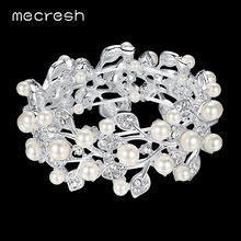 Mecresh Simulated Pearl Bridal Bracelet for Women Silver Color Leaf Crystal Bridesmaid Pulseras Wedding Engagement Jewelry SL142