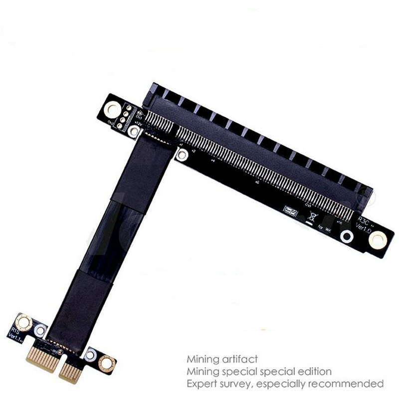 New Riser PCIe x1 to x16 PCI-e extender 16x 1x gen3 ribbon riser card cable twin axial  bandwidh flexible 8Gpbs 164pin adapter<br>