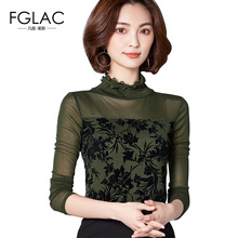 Buy FGLAC Women blouses shirt New Arrivals 2017 Autumn long sleeved mesh tops Elegant Slim Print shirts plus size women clothing for $17.23 in AliExpress store