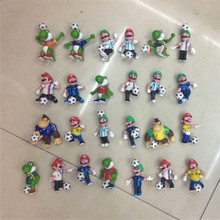 Random 10PCS 6-7cm mario bros football Luigi yoshi dinosaur one piece figure action PVC Super mario Gashapon model kids toy(China)