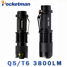 Mini Light Cree xml t6 q5 flashlight powerful Zoomable Tactical Flashlight waterproof led torch lanterna flash max 3800LM(China)