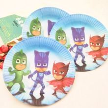 Hot Hot Hotpj mask10pcs/bag PJ Masks Party Supplies Paper Plate Cake Dishes Kids Birthday Baby Shower Decoration PJ Masks Plates(China)
