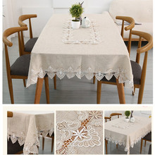 Pastoral style tablecloth. Rectangular cotton and linen light gray tablecloth. Water soluble lace decorative tablecloth. A varie(China)