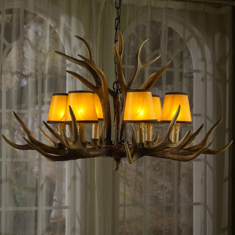 Europe E14 6 8 10 Heads American Deer Horn Antler Pendant Lamp Resin Antler Lampshade Parlor Hall Decor Suspension Luminaire