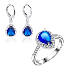 Yunkingdom lovely Water Drop wedding Jewelry Gold Color Blue zircon crystal Earring Ring set Tide fashion charm bijoux LPG20(China)