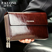 Hot Sale! New 2017 Luxury Shining Oil Wax Cowhide Men Clutch Bag Long Genuine Leather men wallets Double Layer Business Clutch