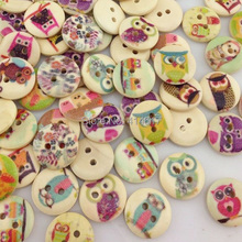 Free Ship 10/50/100pcs Mixed Owl Pattern Wooden Buttons Fit Sewing and Scrapbook 15mm WB61