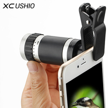 8x Zoom Mobile Monocular Telescope Camera Lens Night Vision Mini Universal Optical Clip Telephoto Black for Phone Accessories