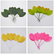 40pcs/lot Artificial Leaves High Simulation Leaves Silk Flower for Party Wedding Decoration Scrapbooking Flower Supplies(China)