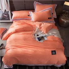 100% Cotton Minimalist bedding set home textile 4pcs Orange/Blue Stripe quilt cover sets queen king size bed sheet pillowcases