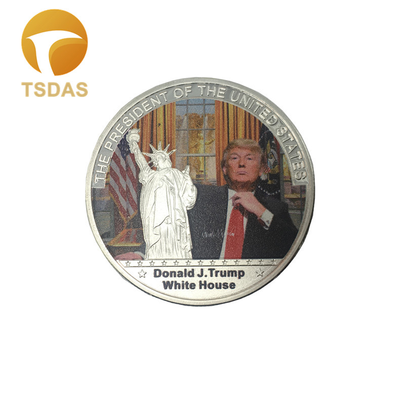 Round Silver Plated Coin Engraved American 45th President Donald Trump, US White House Commemorative Coin Decoration Gift(China)
