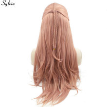 Sylvia Pastel Pink Rose Gold Lace Front Wig with Fishtail Braid Wigs Synthetic Heat Resistant Fiber Natural Hairline Slight Wavy(China)