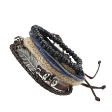 Fashion Retro Metal Feather Wood Beads Braclets For Male Boy Cool Wristband Bijoux Punk Multi Layer DIY Braided Leather Cord