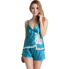 Emulation Silk Pajamas for Women Satin Sleepwear Two Pieces Satin Shorts Sexy Nightwear Embroidery Cami Shorts Satin Pajamas Set(China)