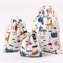 Pure Cotton Canvas Candy Gift Bags Cartoon Animal Printed Gift Bags Kids Birthday Party Favor Candy Drawstring Pouch Box  OZ17
