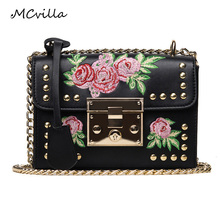 Hot Rive Flower Women Bag Designer Artificial Leather Fashion Courier Bags Ladies Inclined Shoulder Bag(China)
