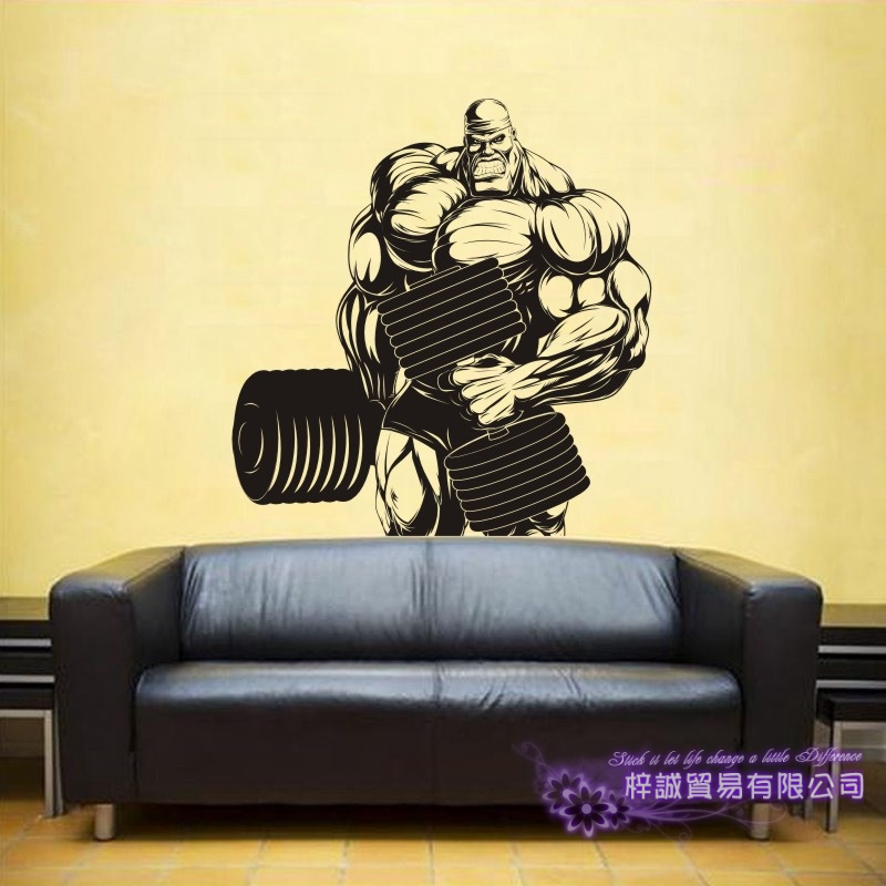 DCTA Large Gym Dumbbell Sticker Fitness Decal Body-building Posters Vinyl Wall Decals Pegatina Decor Mural Gym Sticker