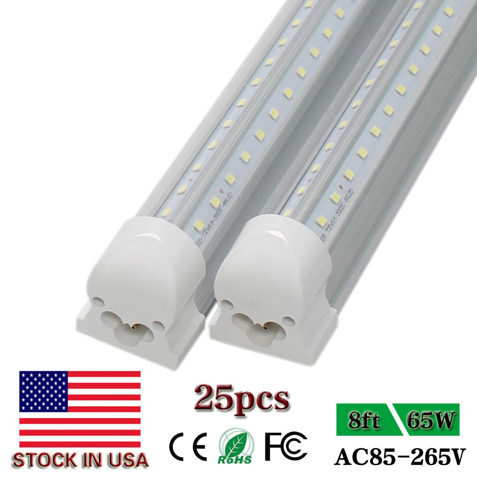 8ft Led Tube Lights Commercial Freeze 2.4m 2400mm Integrated T8 V-Shaped 8foot 65W Cooler Door Double Sides Glowing Lights 25pcs(China (Mainland))