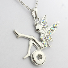 Boom Life necklace free chain angel crystal 12mm snap button pendant watchs women button snap necklace Vintage accessories