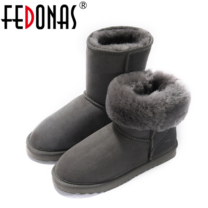 FEDONAS Women Genuine Leather Mid-calf Snow Boots Women Flats Heels Comfortable Warm Wool Fur Boots Suede Winter Shoes Woman<br>