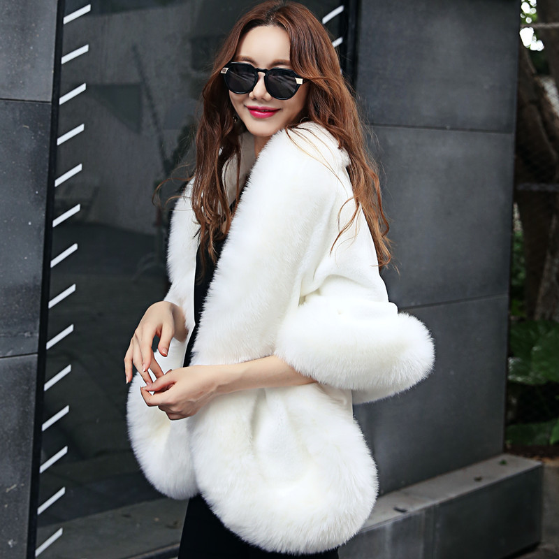 MIARA.L 2018 high quality and new dinner shawl imitation fox fur bride cloak dress white red fur cloak for ladies wholesale