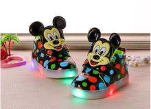 New 2017 Elegant cool LED lighted girls boys boots dots cartoon fashion baby shoes boots cute high quality sports baby sneakers