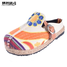 Vintage Women Slippers Casual Linen Cotton Floral Embroidery Handmade Ladies Canvas Walk Hemp Soft Shoes Zapato Mujer(China)