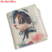 Do Not Miss Lovely Female Purse High Quality Leather Short Hasp Clutch Women Cartoon Wallet Coin Zipper Pocket Small Cat Wallet(China)