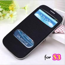 Leather Battery Housing Sleeve Original View Flip Cover I9300i / S3 Duo Shell Holster Case For Samsung Galaxy S3 I9300 / S3 Neo