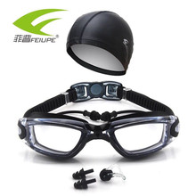 FEIUPE Swim Goggles With Hat and Ear Plug Nose Clip Suit Waterproof Swim Glasses anti-fog Professional Sport Swim Eyewear Suit(China)