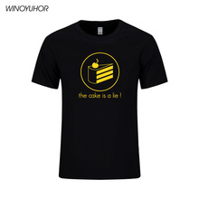 2017 Portal 2 T Shirt Men Game Men's Short Sleeve The Cake Is A Lie Printed Mens T-shirt Cotton Tops Tee Camisetas Hombre(China)