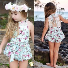 New Rose Floral Printed Cotton Baby Rompers Vintage Baby Girl Romper Lace Floral Overalls for Children Baby Clothes 1-3years(China)