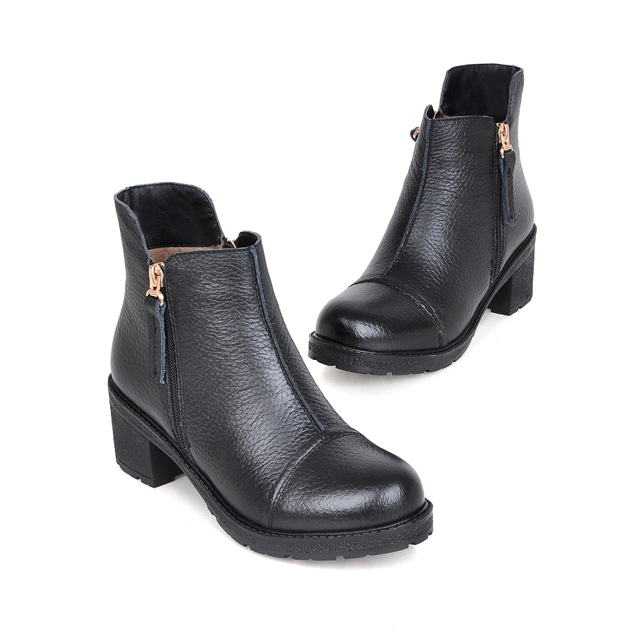 2017 women boots thick heel ankle boots women fashion simple Genuine Leather motorcycle boots Black<br><br>Aliexpress