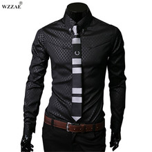 WZZAE 2017 New Arrive Brand New TOP Mens Designer Dark Stripes Dress Shirts Tops Casual Slim long shirts Plus Size M To 5XL