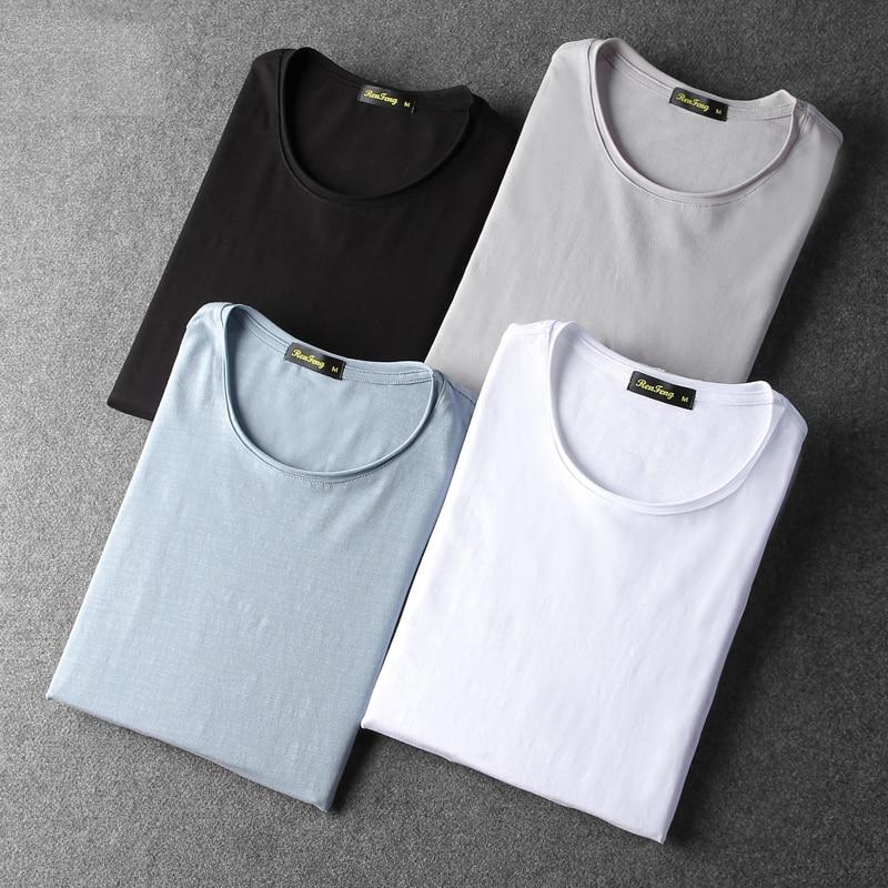 Bamboo cotton men's long sleeve t-shirt msn All Match O Neck Casual T-Shirts Base Tees spring autumn Korean bottoming shirt men (2)