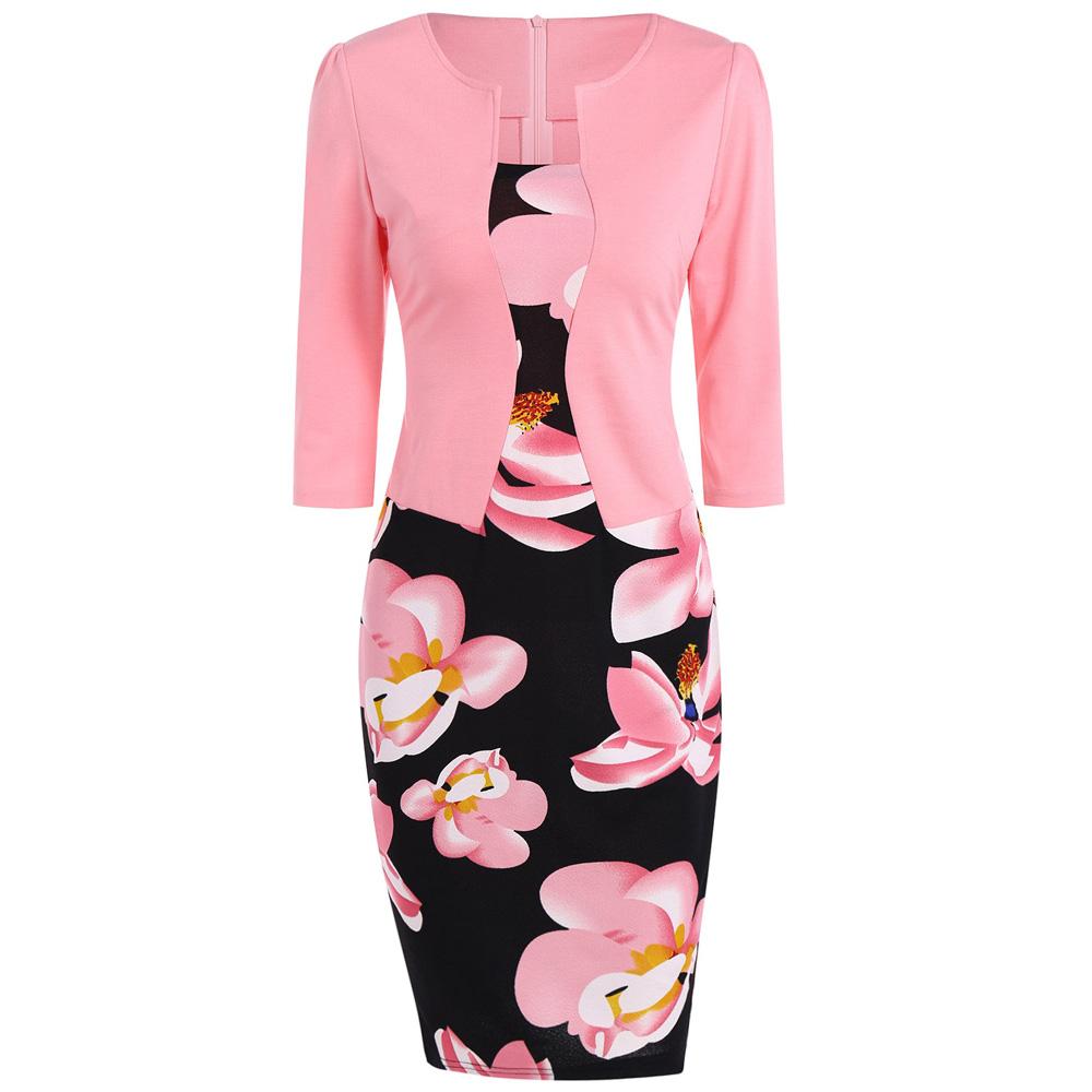 VESTLINDA Pencil Office Dress 5 Colors Plus Size Jacket Look Floral Print Women Vestidos Mujer Jurken Robe Slim Bodycon Dresses 26