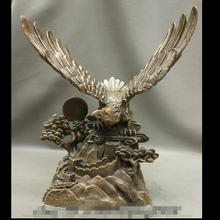 wan67+++20 Chinese Bronze Wealth Bird Hawk King Fly Eagle Statue Great Wall Sculpture