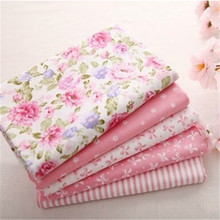 Hot 40*50CM 5PCS Sweet Pink Printed Cotton Fabric Telas Bundle DIY Patchwork Sewing Baby Toy Material Quilting Bedding Tecido(China)