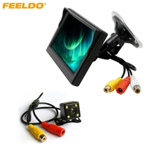 FEELDO 5 inch Digital Windshield LCD Monitor With CCD Reversing Backup Camera Car Rear View System #J-3831