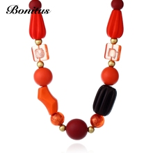 [Bonitus Jewelry Store]2017Fashion Statement Necklaces High-Polished Lucite Plastic Jumbo Wood Beads & Rope Cord ForWomen06N3149(China)